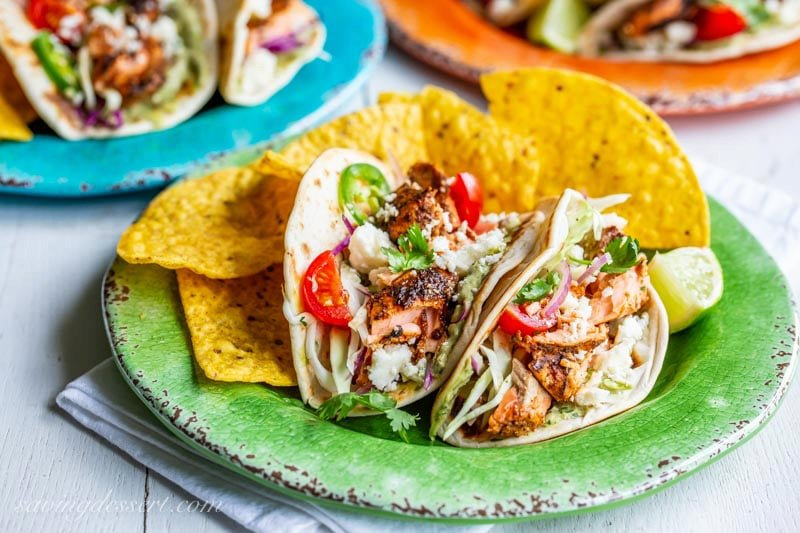 Grilled Salmon Tacos with Avocado Crema