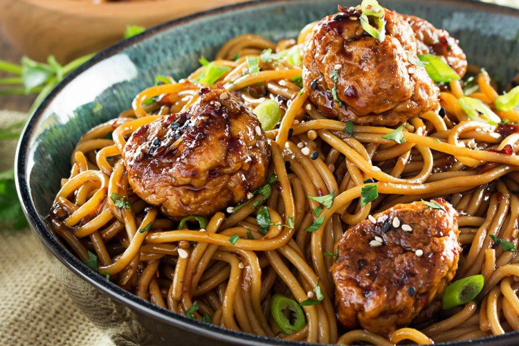Kung Pao Chicken Spaghetti and Meatballs