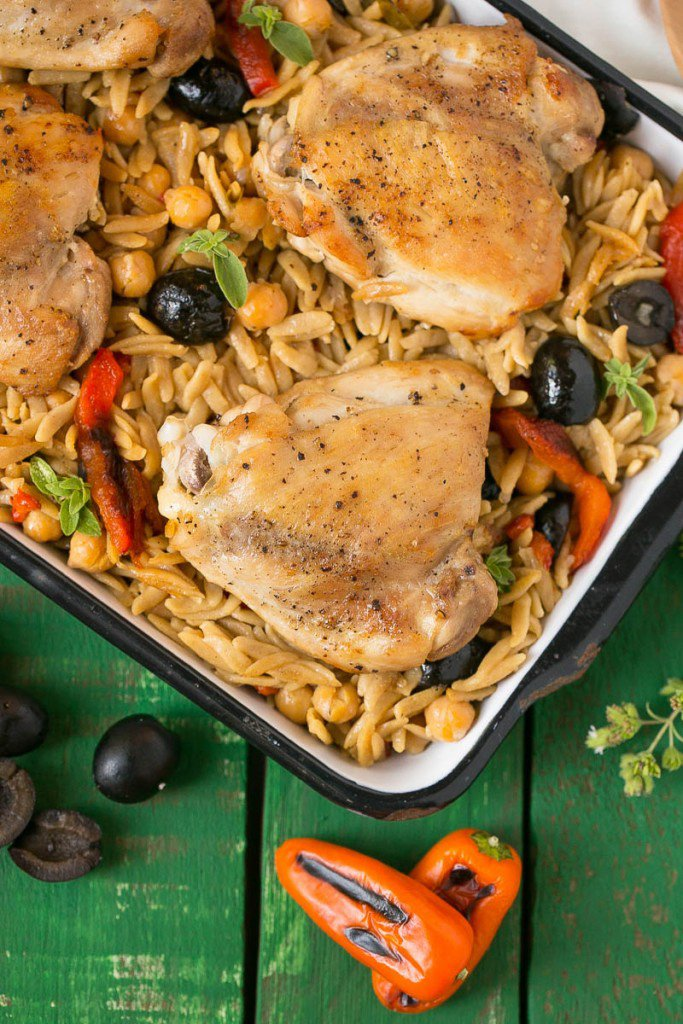 One Pot Mediterranean Chicken with Black Olives and Orzo