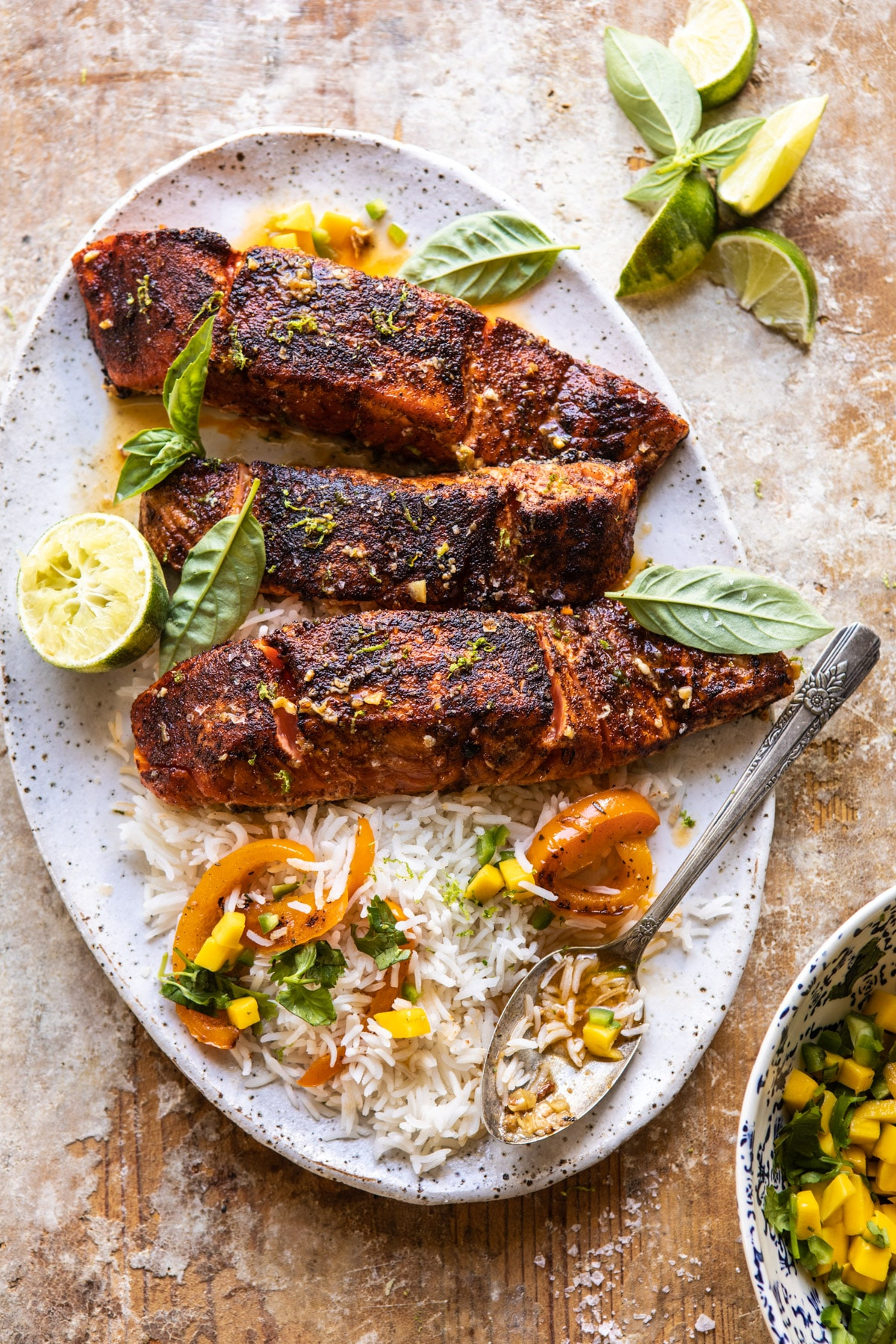 Cilantro Lime Salmon with Mango Salsa.