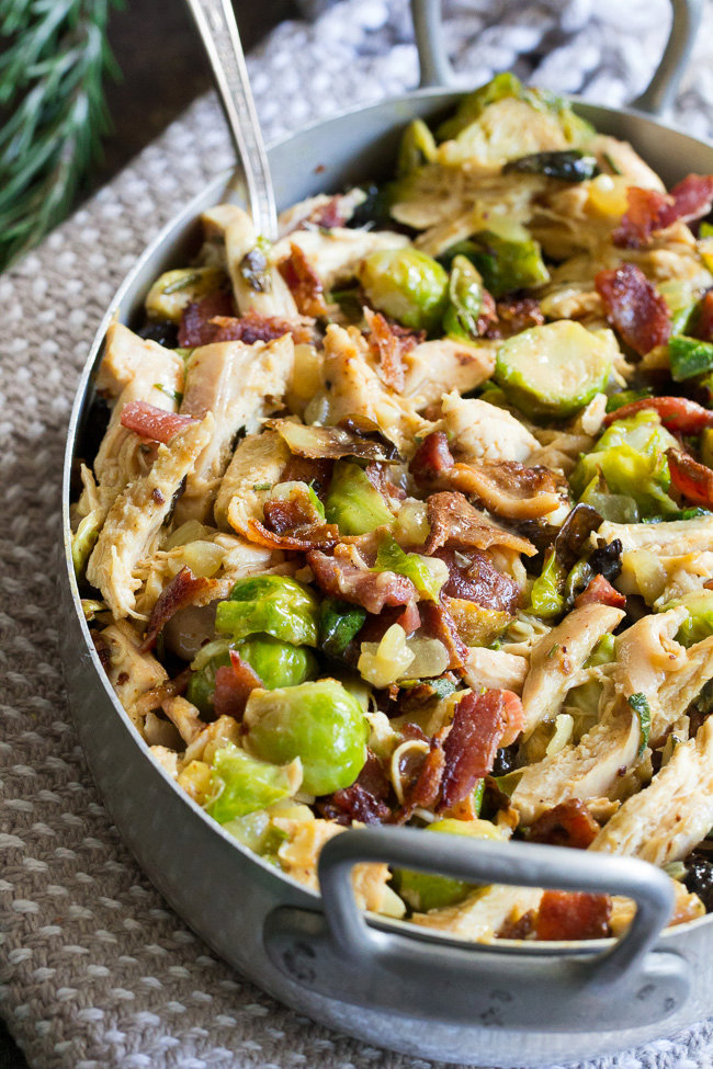 Creamy Chicken Brussels Sprouts and Bacon {Paleo, Whole30}