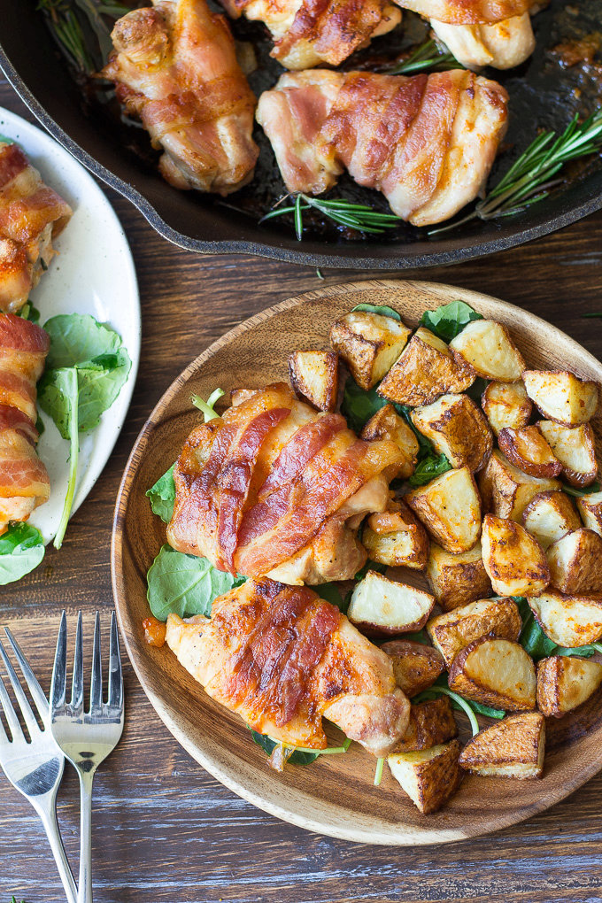 One-Pan Crispy Paleo Bacon Wrapped Chicken {Whole30}