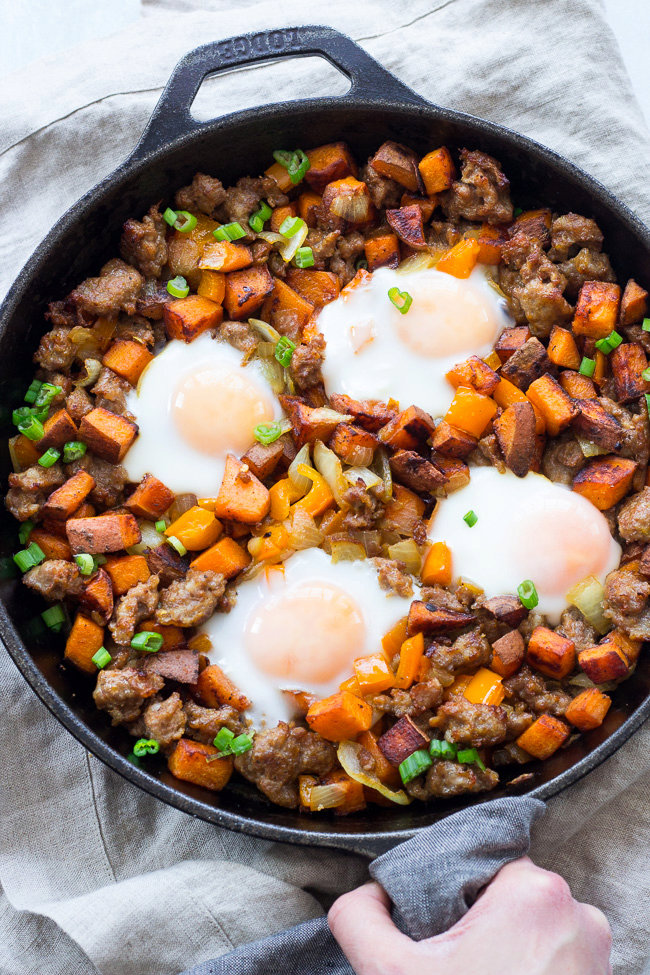 Sweet Potato Hash with Sausage and Eggs {Paleo & Whole30}